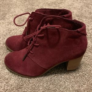 Toms Shoes - Oxblood Burnished Suede Lunata Lace-Up Booties